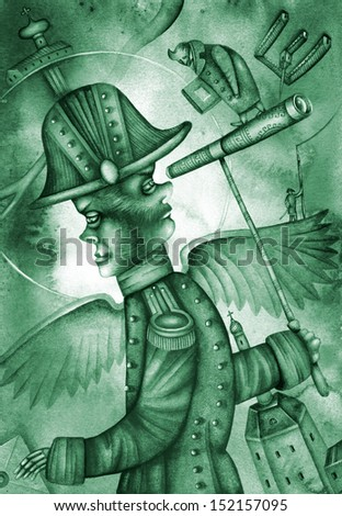Allegory of the russian official. Illustration by Eugene Ivanov. - stock photo