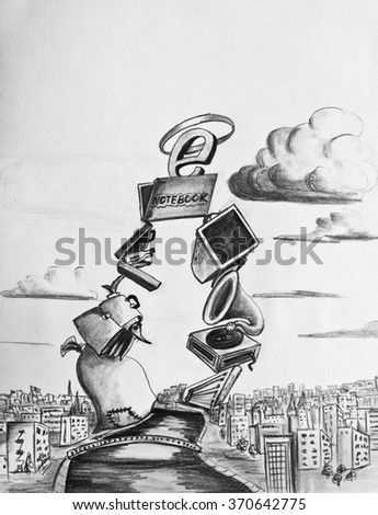 Allegory of the triumph of the Internet - stock photo