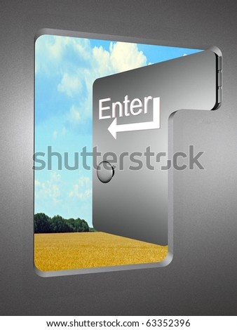 Allegory - the door shaped as computer key. - stock photo