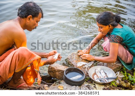 ALLEPPEY, INDIA - DECEMBER 23: Kerala people (unidentified) clean fish along Pamba river (the Backwaters) on December 23, 2015 in Alleppey, India. - stock photo