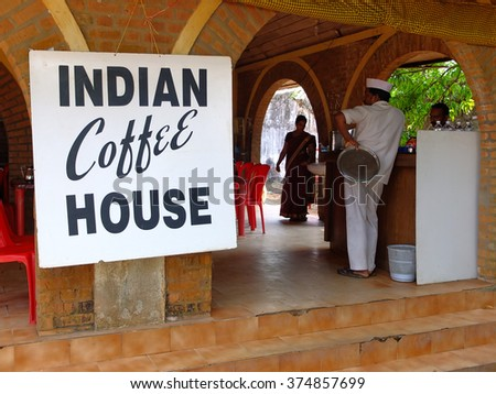 ALLEPPEY, INDIA - DECEMBER 30, 2013: Waiter in an Indian coffee house in Alleppey, Kerala, India.