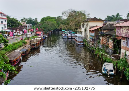 Alleppey, India - October 18: Traditional Indian boats  in Alleppey (Alappuzha) on Kerala backwaters on October 18, 2014.