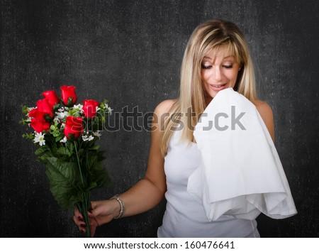 allergic to flowers - stock photo
