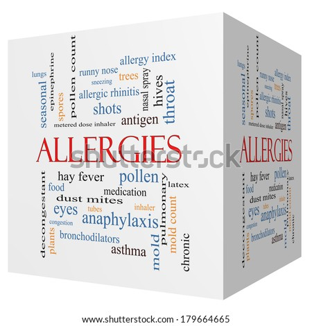 Allergies 3D cube Word Cloud Concept with great terms such as food, pollen, mold and more. - stock photo