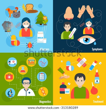 Allergies design concept set with allergens symptoms diagnostics and treatment flat icons isolated  illustration - stock photo