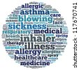 Allergy and asthma info-text graphics and arrangement concept on white background (word cloud) - stock photo