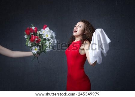 allergy concept for a romantic girl - stock photo