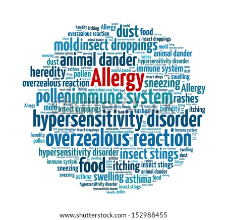 Allergy in word collage - stock photo