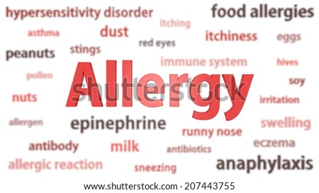 Allergy title surrounded by blurred words of context. Titles concept. 3d illustration. - stock photo