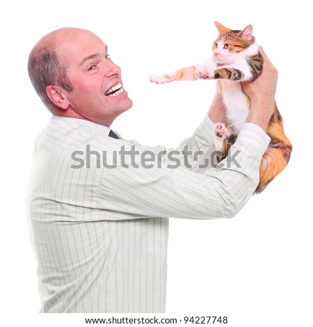 Allergy to animal fur concept. Male scientist holding his cat. - stock photo