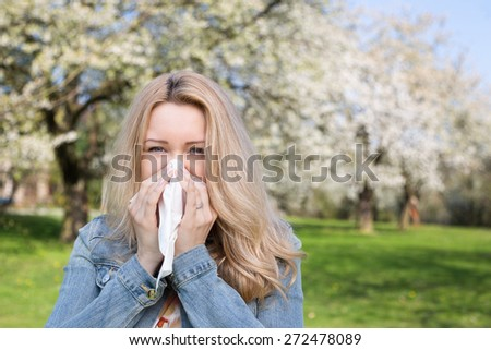 Allergy, Woman, Spring - stock photo
