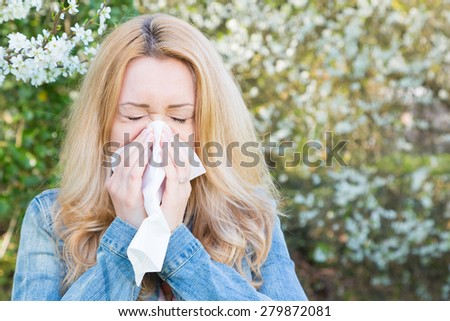 Allergy, woman, springtime - stock photo