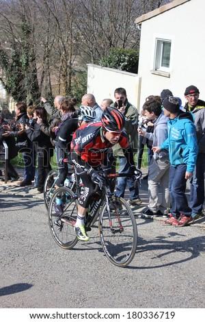 ALLEX, FRANCE - MAR 02: Cadel Evans, former world champion and Tour de France winner riding La Classic Drome UCI Europe Tour on March 02, 2014 in Allex Hill, Drome, France. Romain Bardet won the race. - stock photo