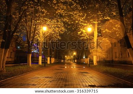 alley autumn city landscape night rain - stock photo