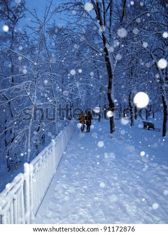 Alley in a park covered with snow and couple in walking in winter park in snowfall. - stock photo