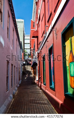 Alley in St. George Bermuda - stock photo