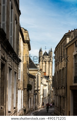 Alley in the old town of Poitiers, France