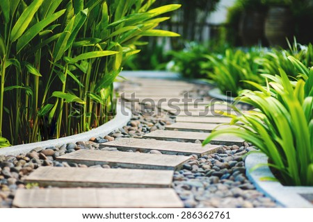 Alley in tropical garden, Koh Samui, Thailand - stock photo