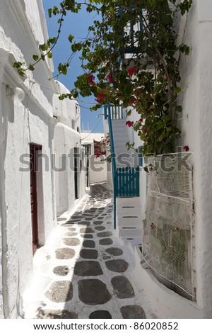 Alley Mykonos, Greece - stock photo