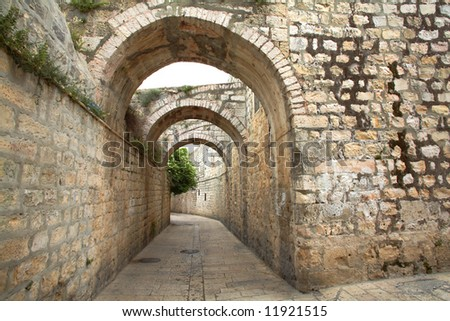 Alley on Old Jerusalem - stock photo