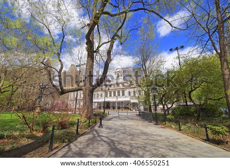 Alley to City Hall in City Hall Park in Lower Manhattan, New York, USA. City Hall on the background. - stock photo