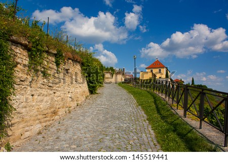Alley to hill - stock photo