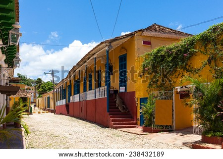 Alley view from historic Buildings of Trinidad - stock photo