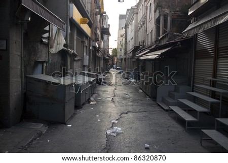 Alley with a garbage in Istanbul, Turkey - stock photo
