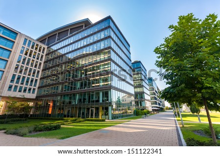 Alley with office buildings in modern Budapest area - stock photo