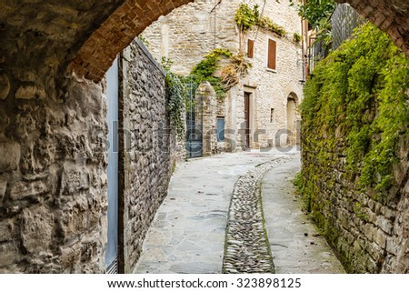 Alleys in medieval mountain village in Tuscany characterized by houses with walls of stones derived from the Renaissance