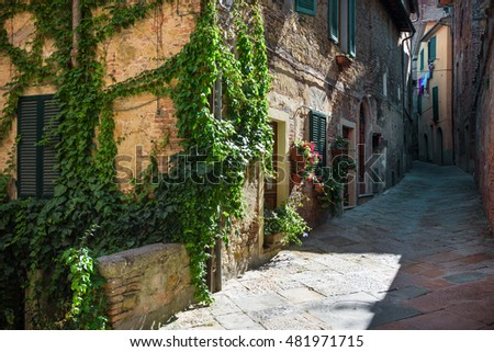 Alleys, streets and crannies in the tourist town in Tuscany, Chianciano Terme, Italy.