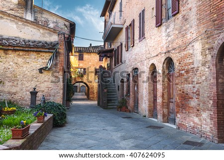 Alleys the beautiful medieval town in Tuscany.