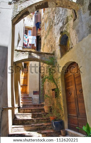 Alleyway. Amelia. Umbria. Italy. - stock photo