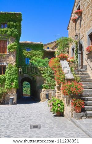 Alleyway. Civita di Bagnoregio. Lazio. Italy. - stock photo