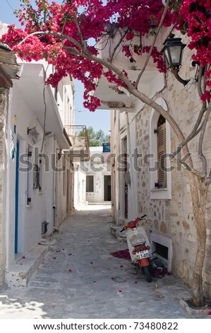 Alleyway in Naxos, an Isle of Greece - stock photo