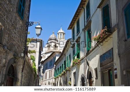 Alleyway. Montefiascone. Lazio. Italy. - stock photo
