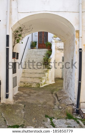 Alleyway. Montescaglioso. Basilicata. Italy. - stock photo