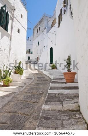 Alleyway. Ostuni. Puglia. Italy. - stock photo