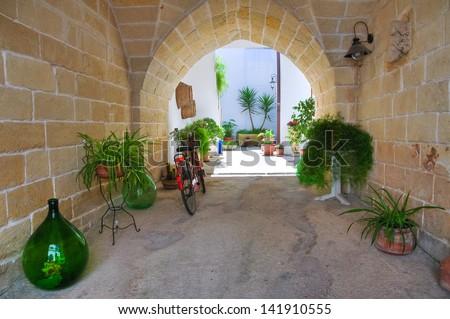 Alleyway. Palmariggi. Puglia. Italy. - stock photo