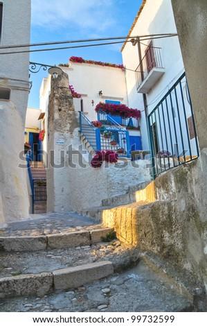 Alleyway. Peschici. Puglia. Italy. - stock photo