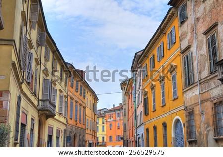 Alleyway. Piacenza. Emilia-Romagna. Italy. - stock photo