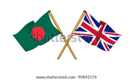 Alliance and friendship between Bangladesh and United Kingdom - stock photo