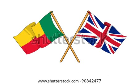 Alliance and friendship between Benin and United Kingdom - stock photo