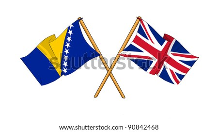 Alliance and friendship between Bosnia and Herzegovina and United Kingdom - stock photo