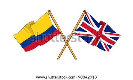 Alliance and friendship between Colombia and United Kingdom - stock photo