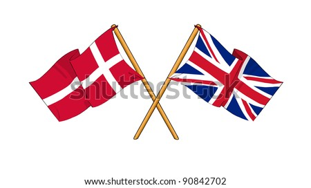 Alliance and friendship between Denmark and United Kingdom - stock photo
