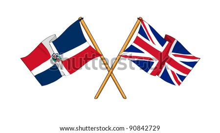 Alliance and friendship between United Kingdom and Dominican Republic - stock photo