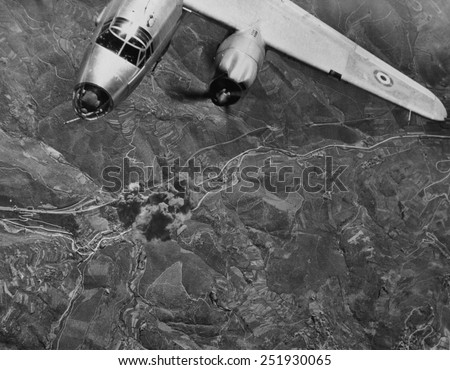 Allied bomber hits a railroad bridge at the Piteccio viaduct, in central Italy. French strikes at German supply lines contributed to Allied 1944 victories in Italy during World War 2. - stock photo