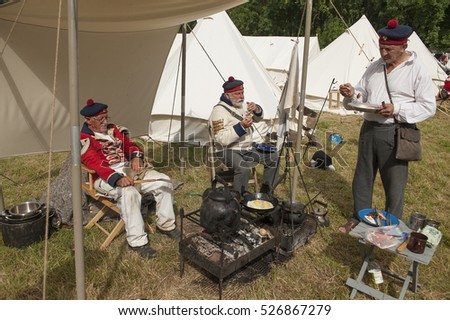 Allied troop encampment at the Waterloo 200 re-enactment in Belgium, 20th June 2015, commemorating the Battle of Waterloo in 1815 on the site of the original conflict.