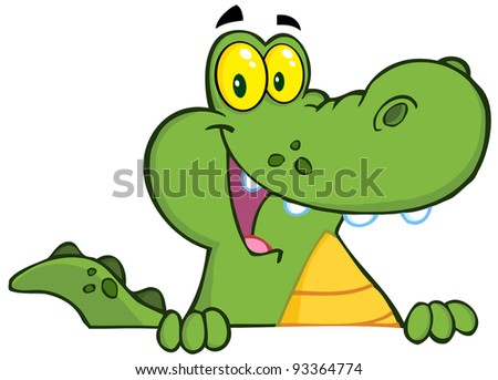 Alligator Or Crocodile Over A Sign - stock photo
